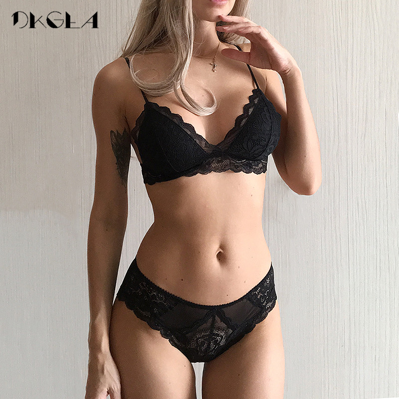 Green Seamless Bra Set Sexy Ultrathin Cotton Brassiere Wire Free Women Bras Lingerie Set Embroidery Lace Underwear Sets Black