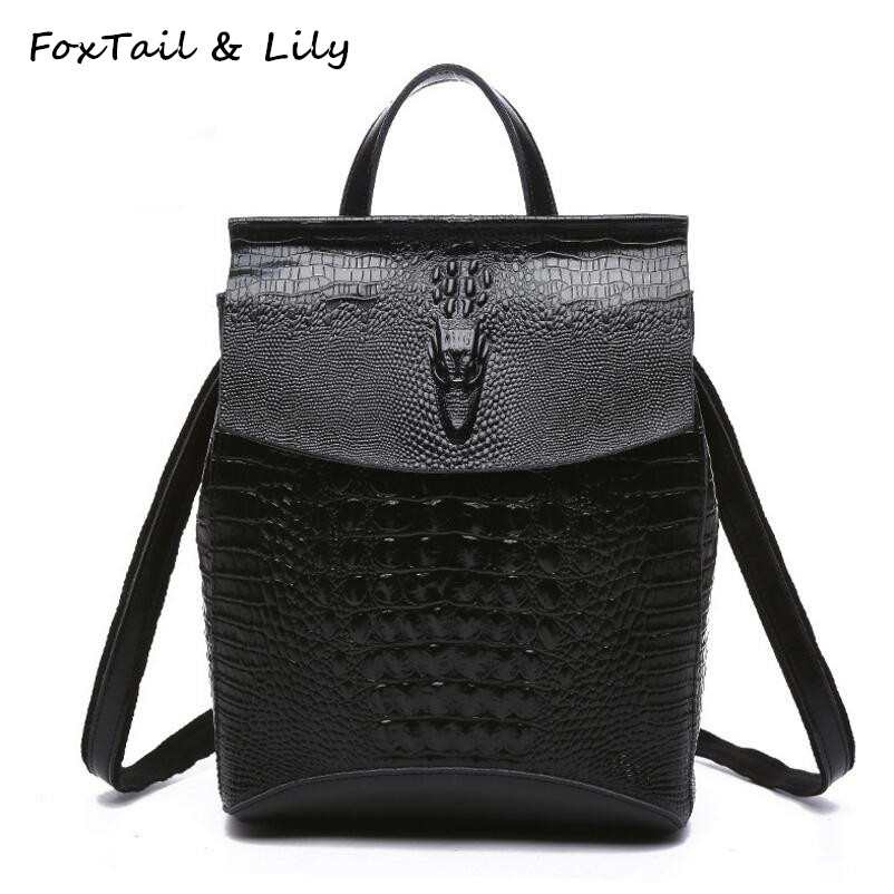 FoxTail & Lily Crocodile Pattern Women Genuine Leather Backpack Fashion Korean Style Leather Shoulder Bags School Backpacks elegant crocodile pattern fashion women backpacks multipurpose solid genuine leather bags