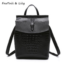 FoxTail & Lily Crocodile Pattern Women Genuine Leather Backpack Fashion Korean Style Leather Shoulder Bags School Backpacks