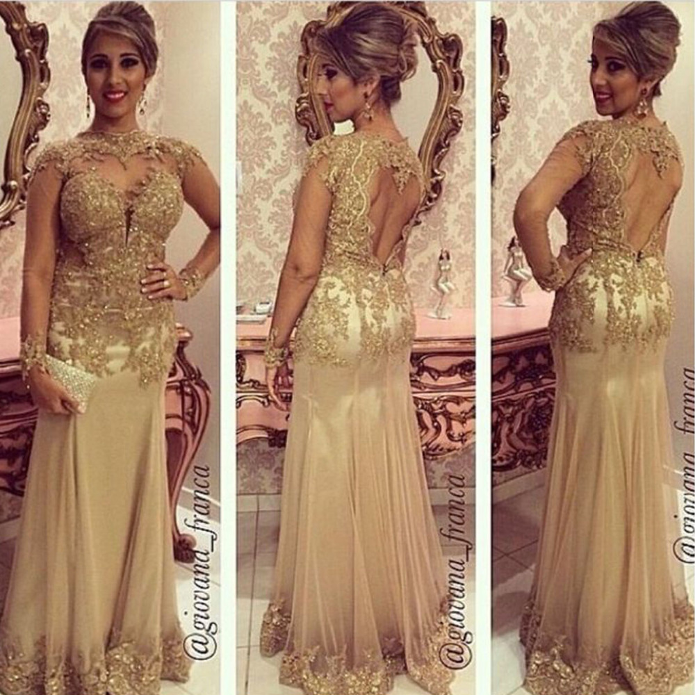 Vestidos De Formatura Long Sleeves Mermaid Gold Lace Prom 2018 Open Back Cheap Evening Gown Party Mother Of The Bride Dresses