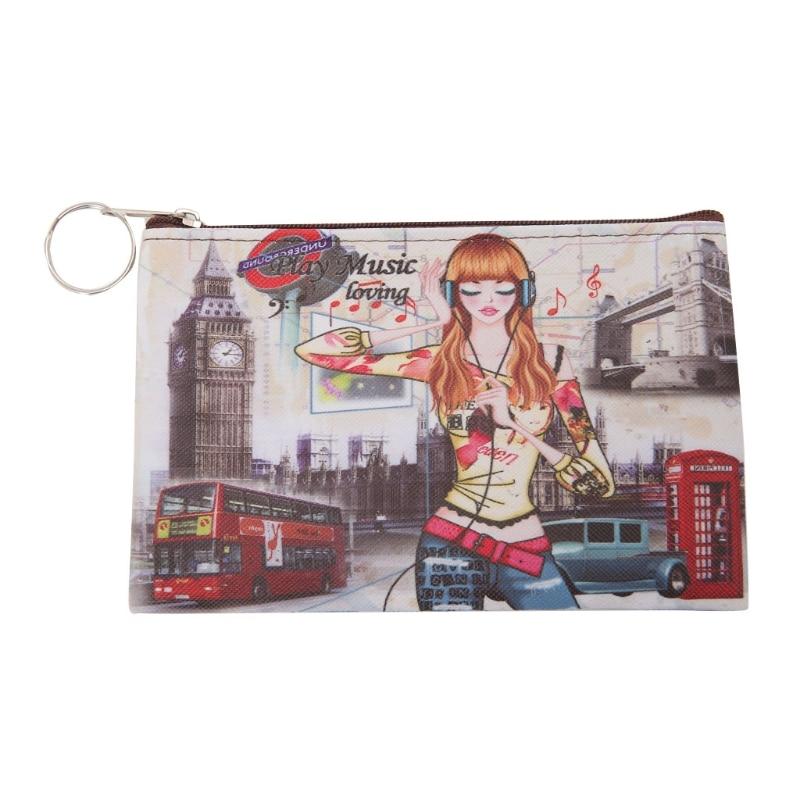 Cute Eiffel Tower Women Girl Leather Coin Case Purse Mini Clutch Wallet Purses Handbags New Cartoon Lovely