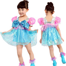10pcs/lot Free Shipping Cute Children Summer Clothes with Bownot Ballroom Costumes Stage Performance Wear Kids Girls Dance Dress