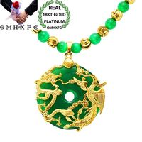 MHXFC Wholesale European Fashion Man Male Party Wedding Gift Dragon Phoenix Green Opal Real 18KT Gold Pendant Necklace NL159