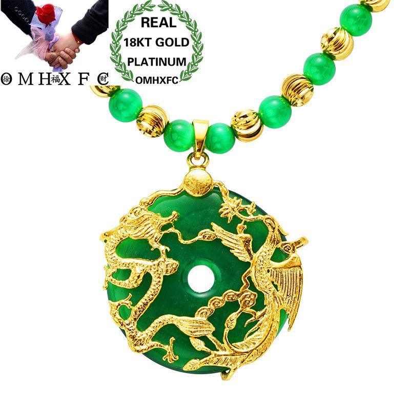 MHXFC gros mode européenne homme mâle fête cadeau de mariage Dragon Phoenix vert opale véritable 18KT or pendentif collier NL159