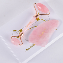 Face Roller Gua Sha Tool Set 2pcs Acupuncture Scraping Natural Rose Quartz Massage Slimming Anti Wrinkle Cellulite Neck Gift Box