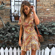 Boho Chiffon Multicolor Flower Print Hem Ruffle Women Dress Short Sleeve Deep V Neck 2019 New Summer short Female The Dress
