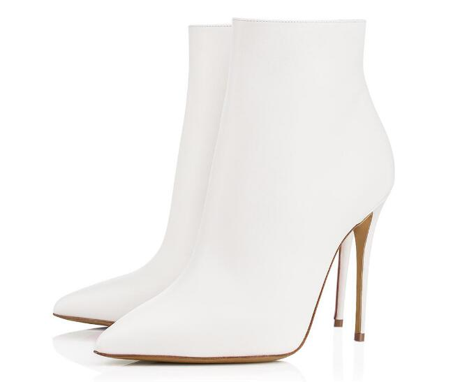 Classic spring and autumn woman black/white pointed toe high heel ankle boots Fashion thin heel short boots ladies dress shoes women suede pointed toe high heel ankle boots spring and autumn super high thin heel short boots black red rose red short boots