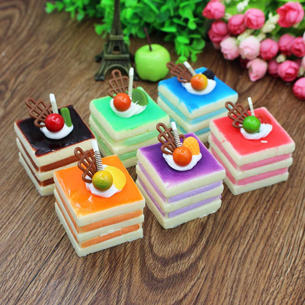 Моделирование трехуровневый квадратный Крем фруктовый торт искусственный реалистичный поддельный маленький торт модель еда торт кухонный реквизит украшения