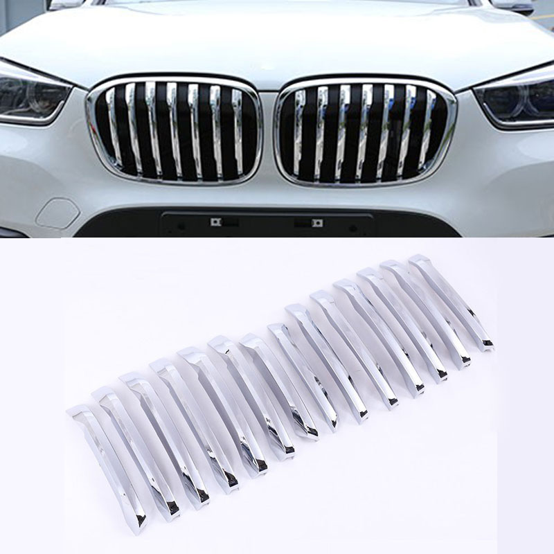 For BMW X1 F48 2015 2016 20i 25i 25le Car-styling ABS Chrome Front Grill Decoration Strips Cover Trim Accessories Set of 14pcs