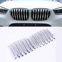 For BMW X1 F48 2015 2016 20i 25i 25le Car styling ABS Chrome Front Grill Decoration Strips Cover Trim Accessories Set of 14pcs