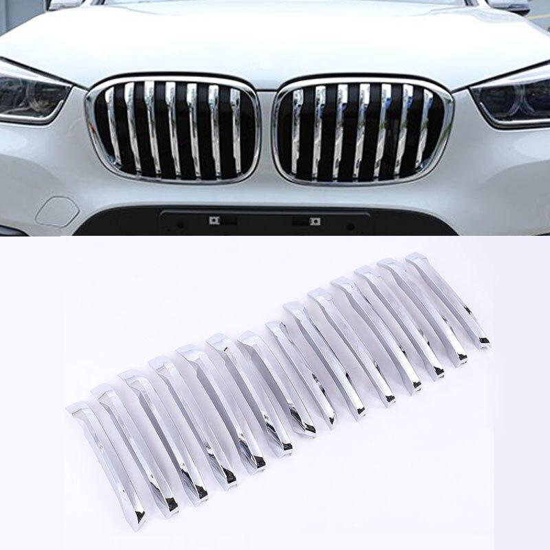 Pour BMW X1 F48 2016-2019 20i 25i 25le style de voiture ABS Chrome avant Grill décoration bandes couverture garniture accessoires lot de 14 pièces