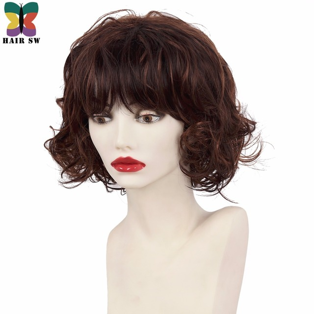 Hair Sw Short Bob Fluffy Curly Synthetic Wig Dark Brown With Soft