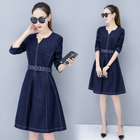 Summer Dress Women Denim dresses Washed Blue Female Long Sleeve Jeans Dress Casual V Neck Slim Waist Spring Clothing