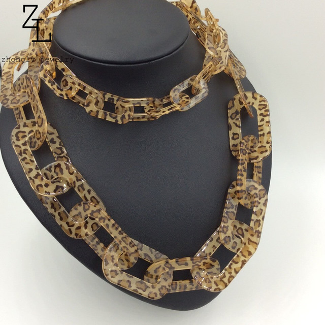 Elegant Chunky choker long necklace leopard grain fashion newest effection chain necklaces party statement jewelry for women