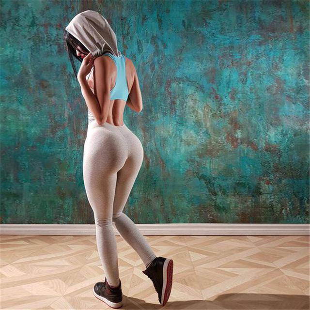 2017 Women's One Piece Cross Strap Gray Jumpsuit piece dye back Women Backless Brazilian Style fitness gym Catsuit bodysuit sets
