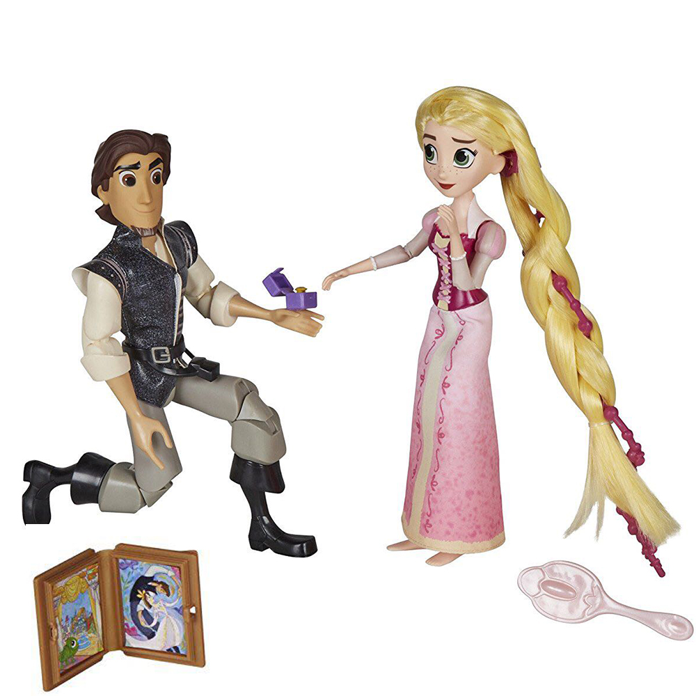 2 in 1 Jimusuhutu Tangled Princess and Prince Dolls with Comb Commemorative Book Ring Box and