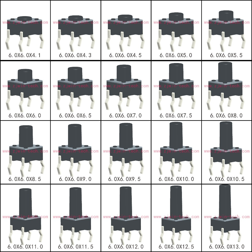 50PCS 6X6X5/4.3/5.5/6/7/8/9/10/13MM Tact Switch Push Button Switch 12V Copper 4PIN DIP Micro Switch For TV/Toys/home Use Button