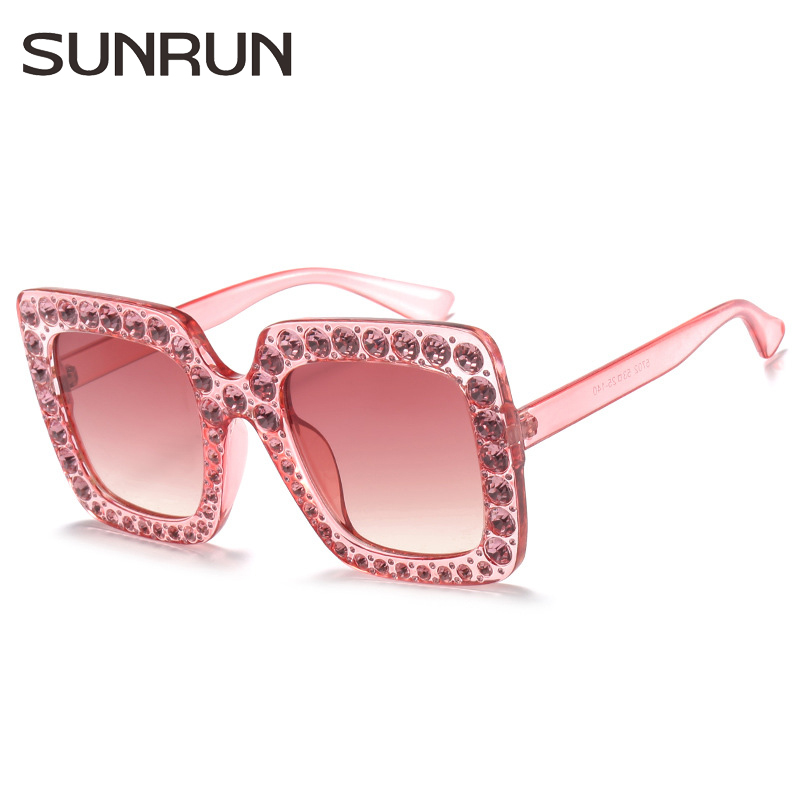 SUNRUN Fashion Square Sunglasses Women Oversized Crystal Frame Sun Glasses Sexy Female Eyewear Oculos De Sol UV400 S702