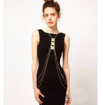 wholesale European summer style sexy bikini belly bodychains jewelery geometric alloy stick women long chain colar