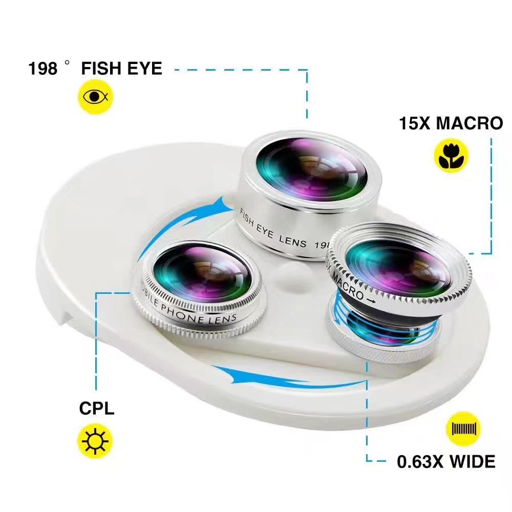 Fish eye Lens 4in 1 Clip-on Cell Phone Camera 180 Degree Fisheye Lens+Wide Angle CPL+Macro Lens for iPhone 7Plus Xiaomi & More 3