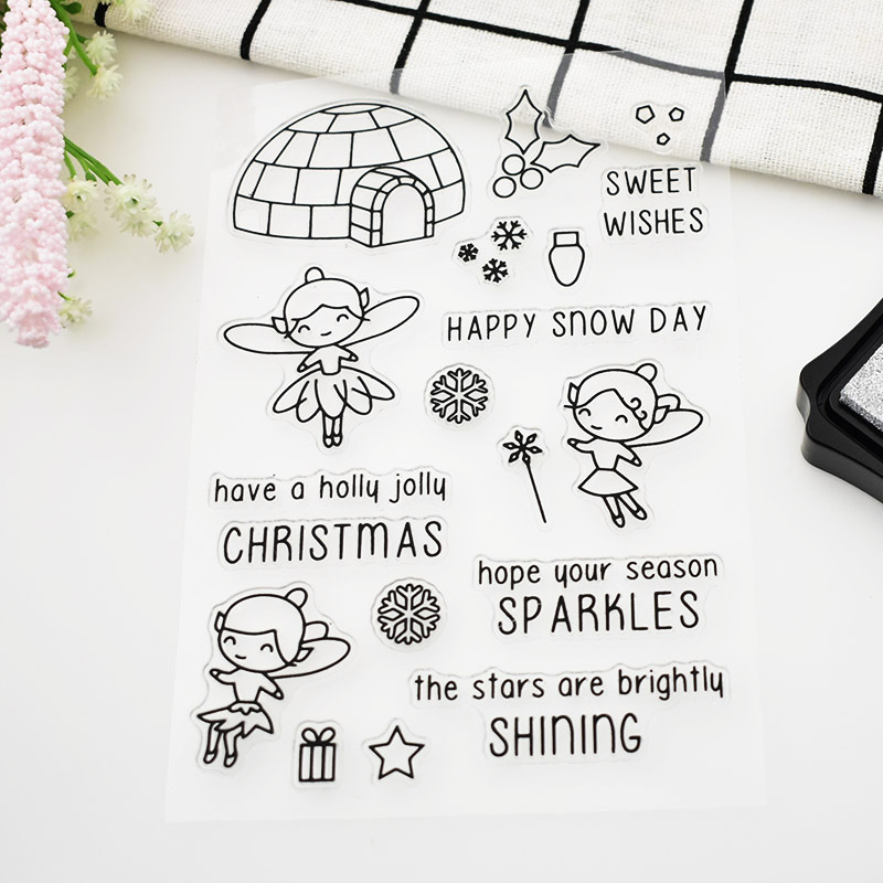 Sweet Christmas Girl For Scrapbooking DIY Accessories Rubber Stamps ...