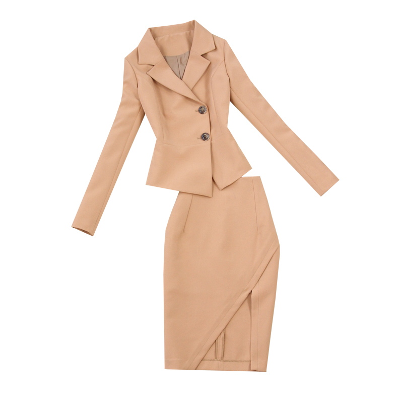 2 piece set women Suit female 2019 spring and summer new style temperament office lady OL uniform package hip cross skirt suit