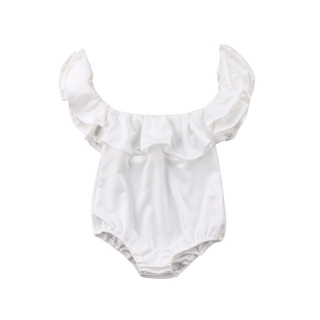 1e315a43c Pudcoco Newborn Baby Girl Clothes 2018 New Ruffle Off Shoulder Romper  Princess Girls White Jumpsuit Baby girls clothing