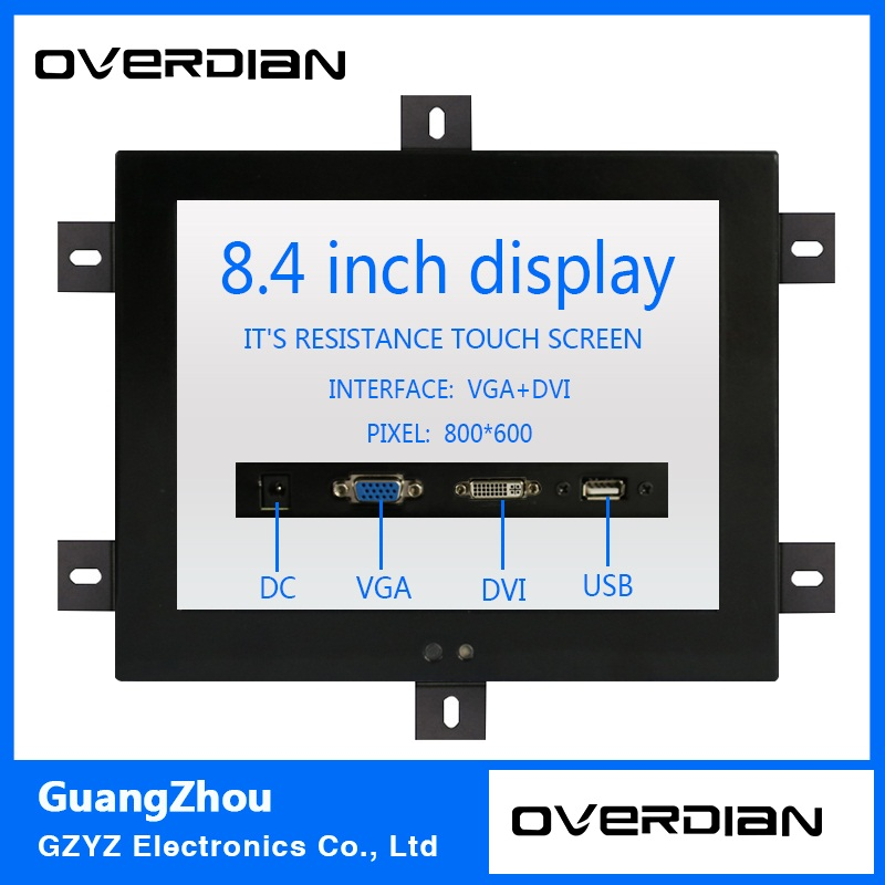 8.4/8Industrial Control Monitoring Machines Resistive Touch Screen VGA/USB/DVI interface Metal Shell Embedded Lcd Monitor 8 8 4 inch vga dvi interface non touch industrial control lcd monitor display metal shell buckle card installation 4 3