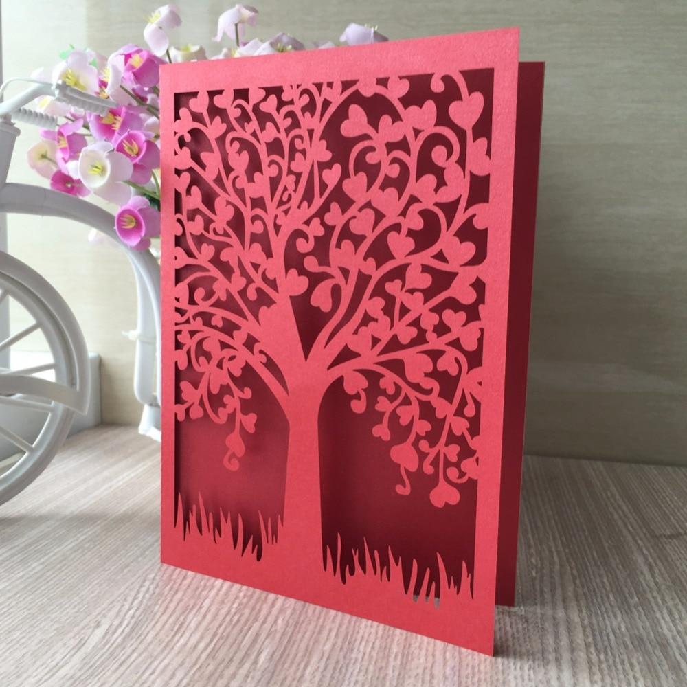 12pcs Glossy Paper Laser Cut Love Tree Wedding Invitation Decoration ...