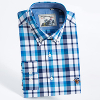 Men S Regular Fit Long Sleeve Plaid Shirt With Embroidered Logo Smart Casual Check Pattern Button