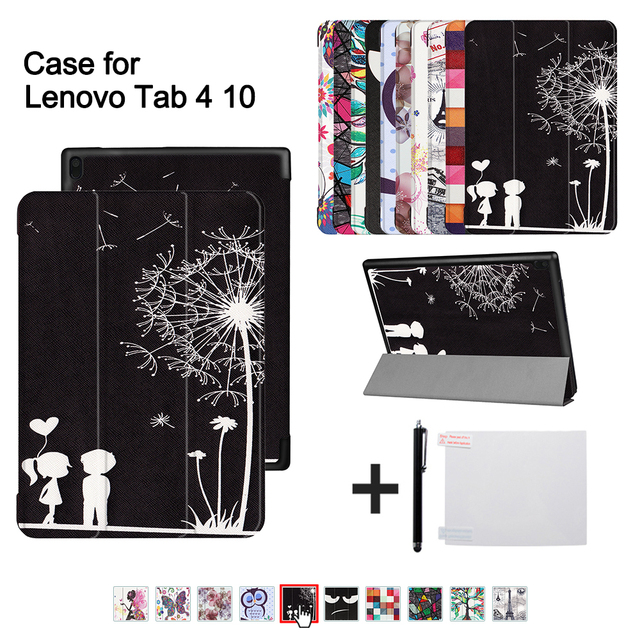 """PU cover case For Lenovo TAB 4 10 Protective Smart cover for lenovo tab410 Tab4 10 TB-X304N F Cases 10.1"""" (2017 release)+gitf"""