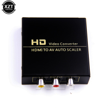 High Quality 1080P HD HDMI To AV Auto Scaler 3 RCA AV R/L Audio Converter Adapter with EU US Plug power Cable