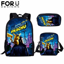 FORUDESIGNS 3 Pcs/set Cartoon Pokemon School Bags For Kids Detective Pikachu Anime Pattern Backpack Teen Boys Girls