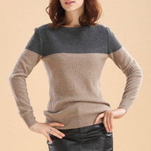 LHZSYY Spring and Autumn New Women Cashmere Sweater Round Neck Wool Blend Knit Pullover Spell Sweater Short Loose Warm Shirt