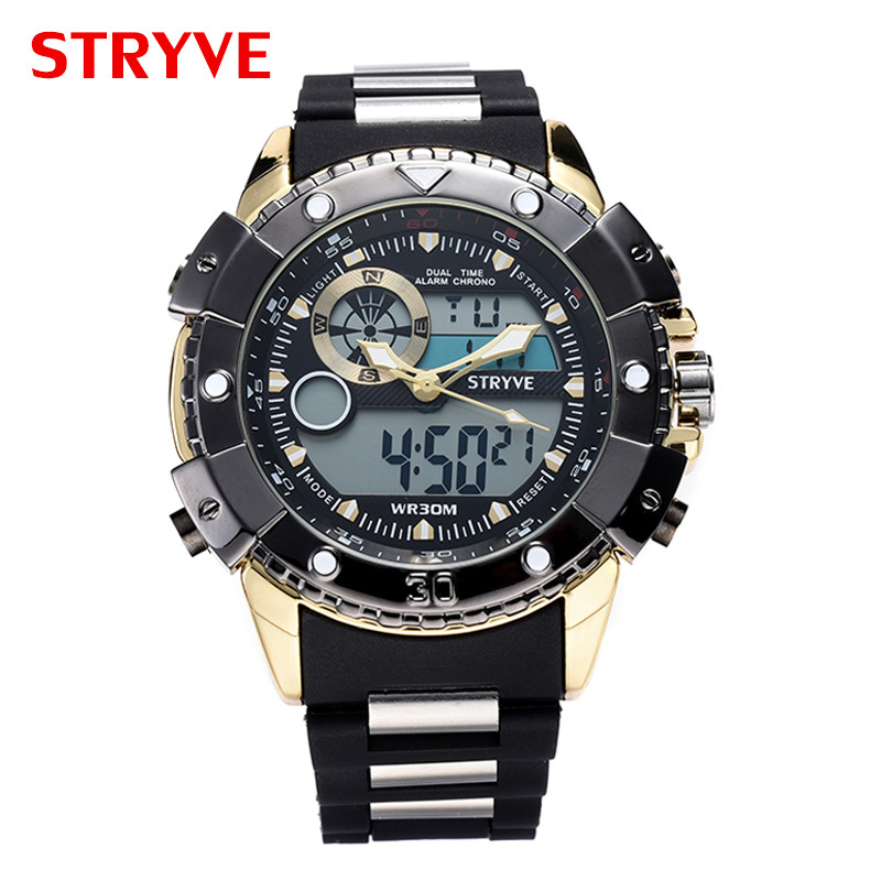 Mens Digital Watches Double Movement Sport Fitness Alarm Waterproof Military Watch Men High Quality Dropshipping New Arrival