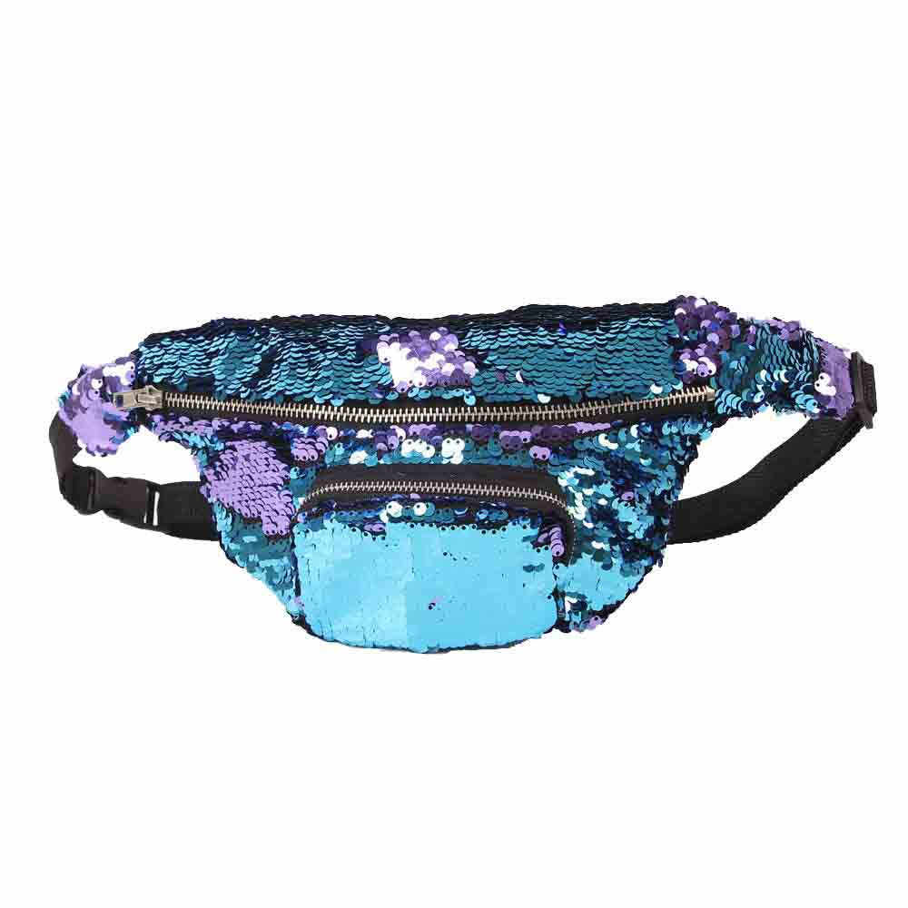 Unisex กีฬากลางแจ้ง Casual Double Color Sequins Unisex Sequins Fanny Pack Glitter เอวกระเป๋ากระเป๋าเดินทางหญิงกระเป๋าโทรศัพท์เงิน # S