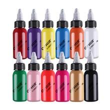 OPHIR 12 Renkler Airbrush Mürekkepleri Tırnak Sanat için 30 ml/şişe Tırnak Boyama Pigment Mürekkepleri Parlak Renkli Airbrushing tırnak Tools_TA100