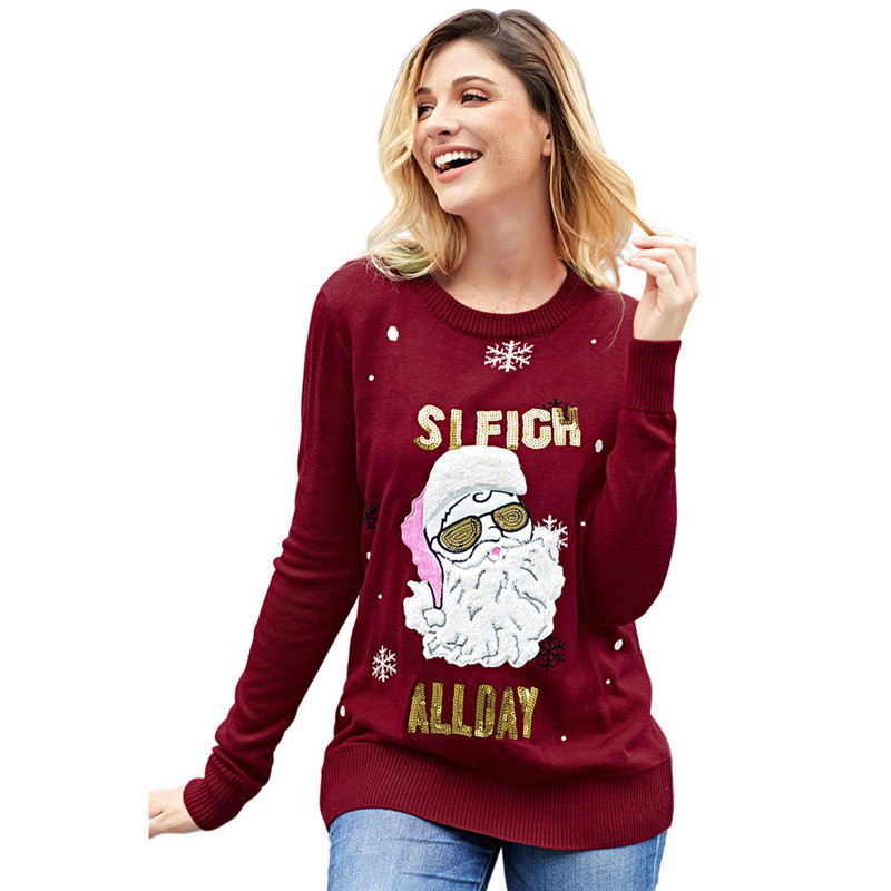 8d3b41b8c6 Cute Sequined Santa Claus Sleigh All Day Christmas Sweater for Women Kawaii  Girls Funny Xmas Pullover ...