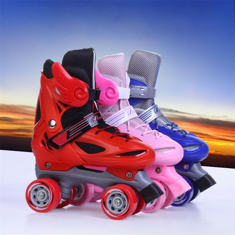 Child Adjustable Roller Skates Double Row Skates Two Line Roller Skate Shoes Patins For Kids Four Wheels Free shipping IB03 16 pcs 85a 92a quality pu inline roller skates wheels 72 76 80mm high elasticity freestyle roller blade rodas fsk sliding ruedas