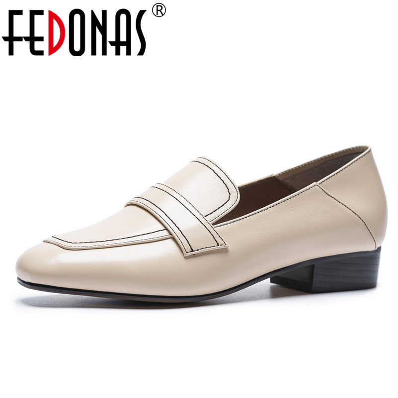 FEDONAS New Basic Pumps Women Genuine Leather Round Toe Casual Shoes Woman Med Heels Party Prom Dacning Shoes Office Pumps facndinll shoes 2018 new fashion genuine leather women pumps med heels pointed toe shoes woman dress party casual black pumps
