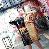 Sequins Flame Print hiphop Short sleeve t shirt 2019 women Oversize Long Top Tees ulzzang Patchwork Punk Tops Plus size LT011S50