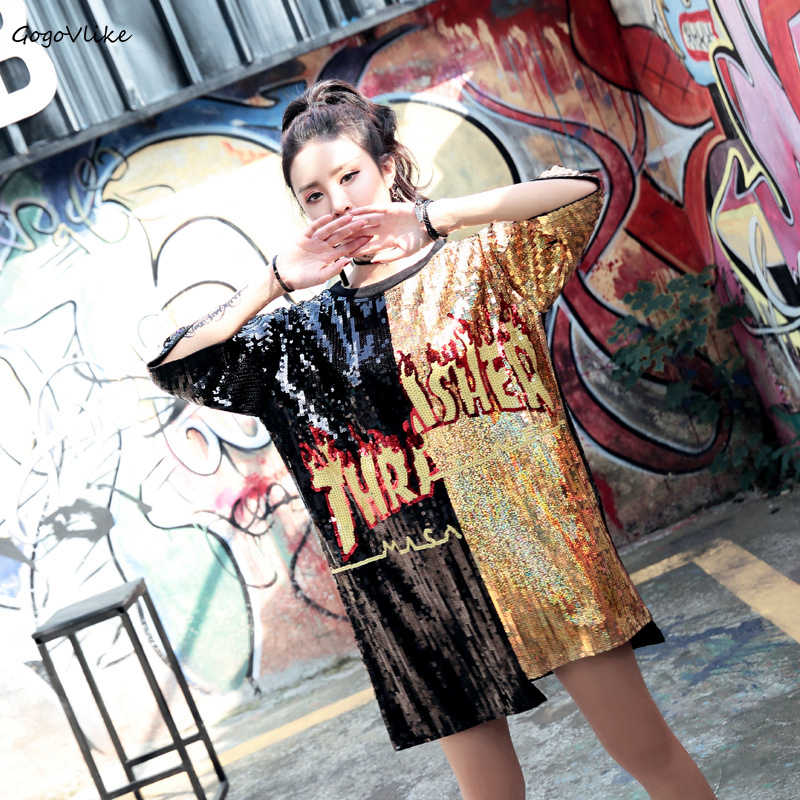 Sequins Flame Print hiphop Short sleeve t shirt 2019 women Oversize Long Top Tees ulzzang Patchwork Punk Tops Plus size LT011S50