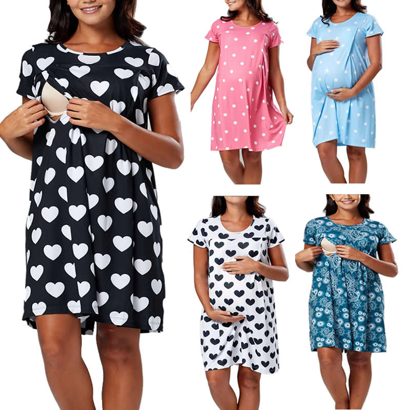 3 In 1 Summer Dot Nursing Nightgown Nightdress Hospital Gown Delivery Labor Maternity/Pregnancy Soft Breastfeeding Dress