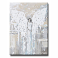 Hand Painted Abstract Angel Painting Angel Of Love Spiritual Grey Blue Poster Pictures Cream Decor Home Oil Painting Long Modern