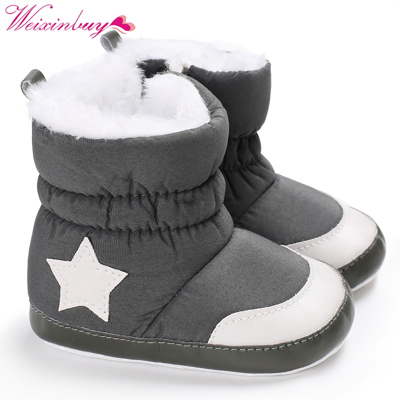 Newborn Baby Boy/Girl Winter Shoes Crib Bebe Infant Toddler First Walkers Star Pattern Snowfield Snow Boots