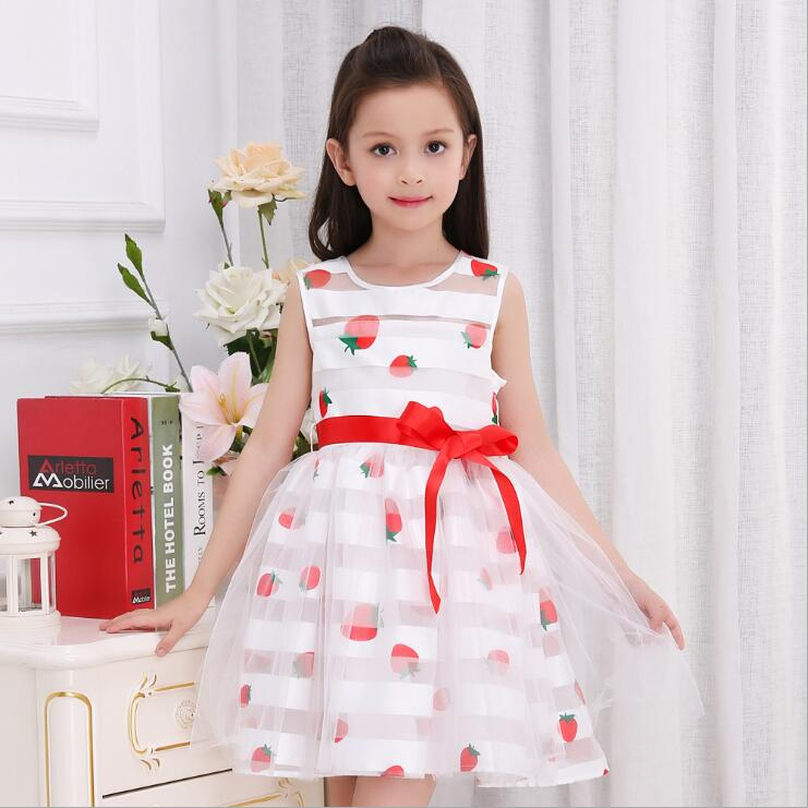 GIRLS summer dresses kids o-neck princess Strawberry printed casual dress baby wedding fashion clothes children party clothing baby girls dress summer 2017 brand girls wedding dress cotton princess dress for girls clothes kids dresses children clothing