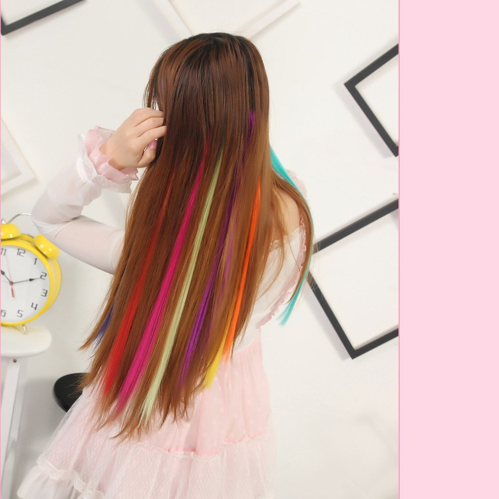 24 Colors 50CM Single Clip In One Piece Hair Extensions Synthetic Long Straight Ombre Grey Blonde Red Hair Pieces Best Selling