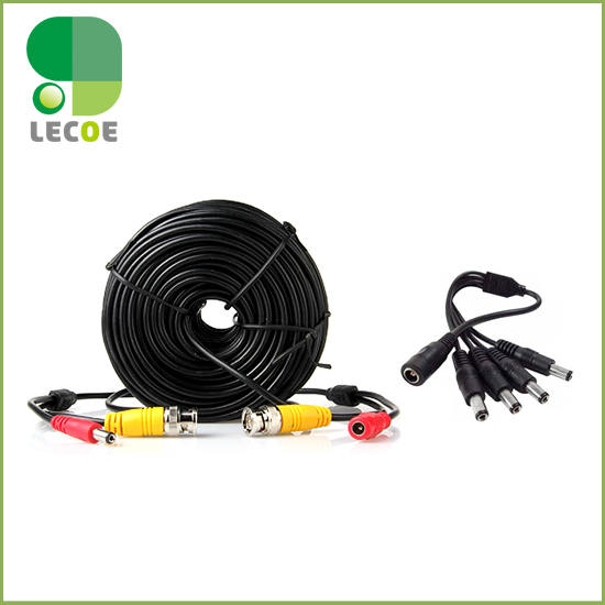 10m/32ft CCTV Cable BNC + DC plug Power extension cable+1 to 4 way Power splitter for CCTV Camera and DVRs  coaxial Cable  high quality 40m cctv cable bnc dc plug video and power cable for cctv camera and dvrs black color coaxial cable free shipping