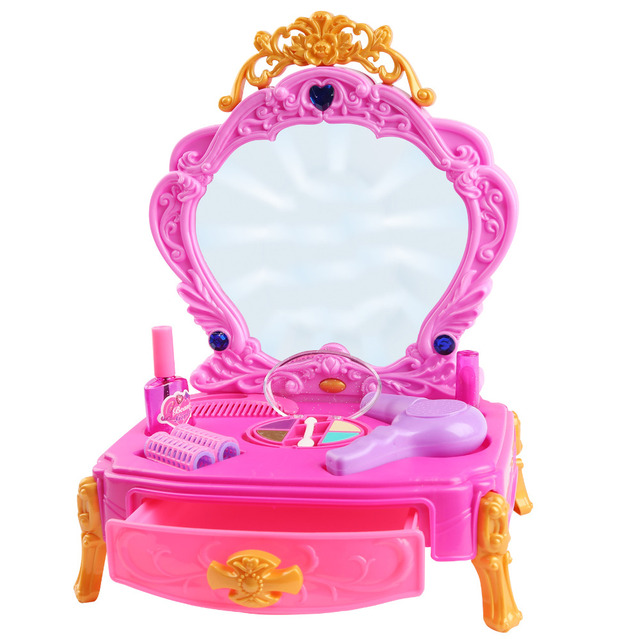 Girls Princess Make Up Dressing Table Dresser Beauty Salon Dolls Playset with Light Up Mirror Hair Dryer Girls Pretend Play Toys
