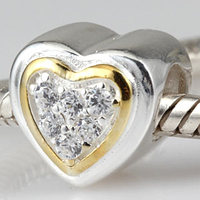 Fits Pandora Bracelet Necklace Paving Clear Zircon Love Heart Gold Plated Charm Jewelry 925 Sterling Silver